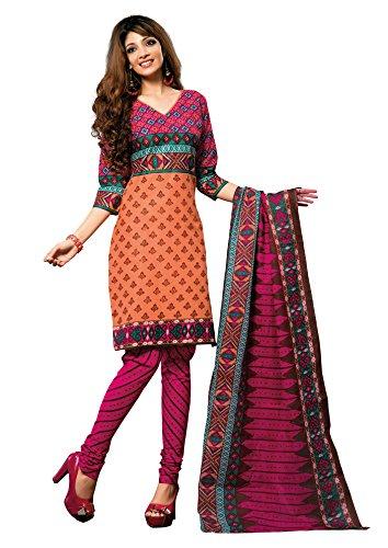 Vaamsi Women's Cotton Dress Material (1005_Orange)