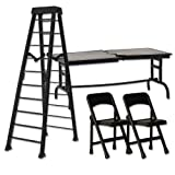 ULTIMATE Ladder, Table & Chairs Black Playset for Wrestling Action Figures