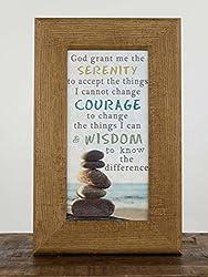 Serenity Prayer Rocks Seashore Beach Inspirational Framed Art Picture 10x16