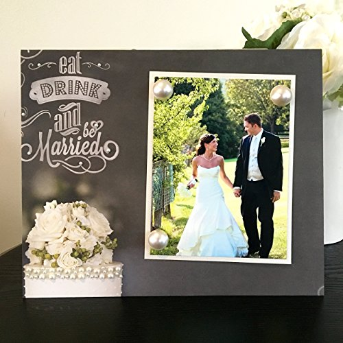 Eat Drink & Be Married wedding newlywed floral pearl gift handmade magnetic picture frame holds 5
