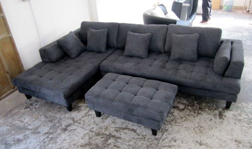 3pc Euro Design Dark Gray Microfiber Sectional Sofa Set S168LDG | New  Furniture Sets
