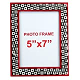 The Art Treasure Photo Frame With Mother Of Pearl Red Black Wood - B015O5ITB2