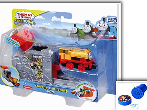 2 Item Bundle: Fisher-Price Die-Cast Metal SCC Orange BILL Thomas & Friends Take-n-Play Portable Railway Speedy Launching BILL Press Handle to Launch Engines and 1 Assorted Color Thomas Stamp (4 Moms Tub Insert compare prices)