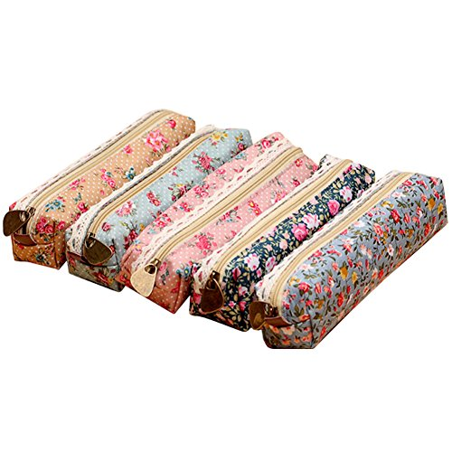 Storage Pouch Cosmetic Bags,NORTHERN BROTHERS Large Capacity Pen Holder Pencil Case Stationery Bag Case Flower Floral Pattern Zipper Canvas 7'' 5 Pieces (Pretty Plastic Jars compare prices)