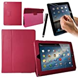CaseGuru Apple iPad 4 / 3 / 2 / Bycast Leather Case/Cover/Stand with Sleep Sensor and Smooth Stylus Pen - Hot Pink for iPad 4 / iPad 3 / iPad 2 (Fits ALL Models of each incl: WiFi / 4G / 3G / HSDPA / HSUPA / LTE / HD / Retina Display / etc)