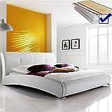 Polsterbett weiß Bett 180x200 cm + Lattenrost + Matratze Doppelbett Ehebett Kunstlederbett Amadeo