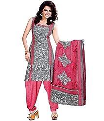 Azy Fabrics Women's Georgette Long Anarkali Unstitched Salwar Suit Dress Material(830_FO_Grey)