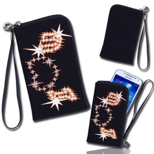 Handy Tasche schwarz Sterne für Samsung C3312 Rex60 / S5222R Rex80 / Galaxy Young S6310 / Galaxy Young Duos S6312 / Galaxy Pocket Plus S5301 / Samsung Galaxy Pocket Neo S5310 / Alcatel OT 903D / Alcatel OT Star 6010D
