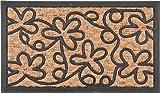 不二貿易 ラバー&コイヤーマット フラワー 60×35cm 天然素材 30198