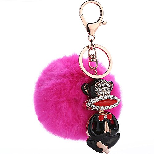 Silence-Shopping Keychain With Plush Cute Genuine Rabbit Fur Ball& Paul Frank Model Key Chain for Car Key Ring or Bags (Rose) Paul Frank Key Ring