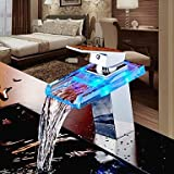 Bathroom Sink Faucet Color Changing LED Waterfall High Quality Brass Faucet(Chrome Finish)