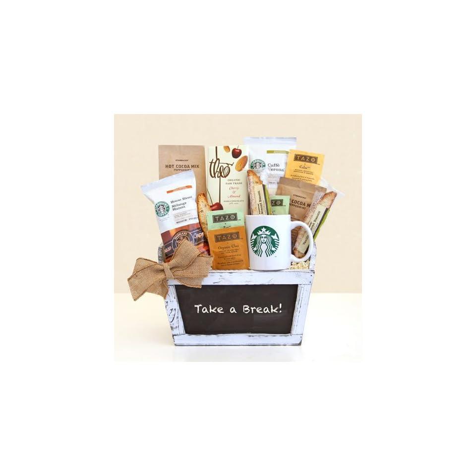 Starbucks Break Time Gourmet Coffee & Tazo Tea Gift Basket Fathers Day Gift Basket for the