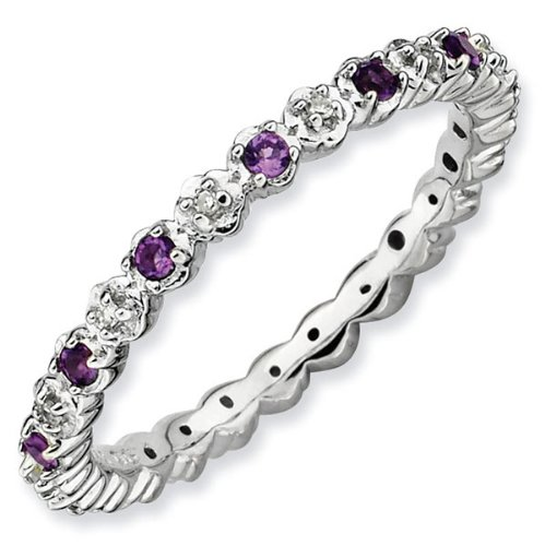 Amethyst and Diamond Stackable Ring 1/20ctw - Size 7