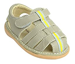 Kids Child Baby Boys Genuine Leather Slip-on Non-slip Sandals Shoes, Gray Brown sz21