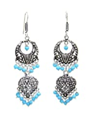 Awesome Designer Oxidized Metal Long Earrings With Aqua Blue Beads From Lazreena