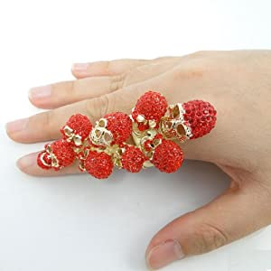 Halloween Skulls Stretch Finger Ring with Red Swarovski Elements Crystal by Ever Faith