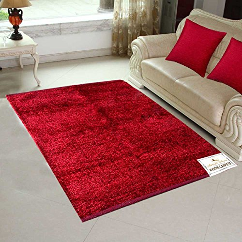 Avioni Handloom Rugs For Living Room Solid Red Colors Reversible-3 Feet X 5 Feet