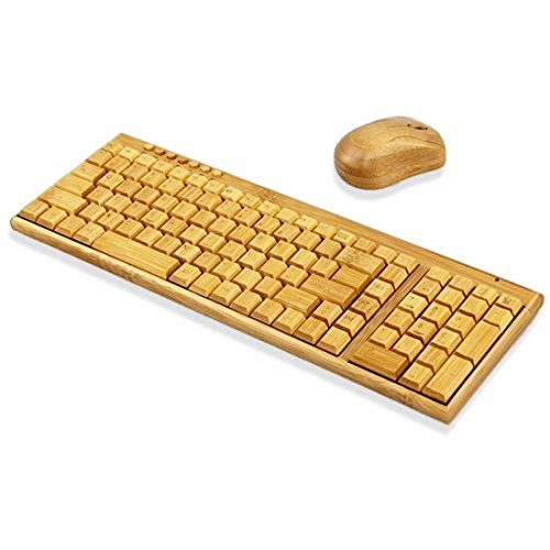 PDXSun 2.4GHz Standard 109 keys Natural Bamboo Handmade Keyboard and Mouse Whole set Wireless Wood Design