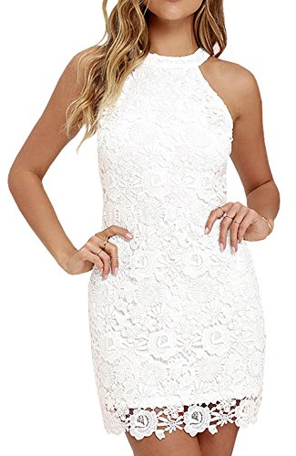 Berydress Women's Halter Neck Sleeveless Casual Lace Dress (US12, #6010_White)