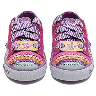 Skechers Infant/Toddler Girls' Twinkle Toes Shuffles Heart Sparks,Pink/Multi,US 7 M