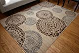 New City Contemporary Brown Beige Modern Flowers Circles Wool Area Rug 4030 7'10 x 10'10
