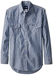 Wrangler Men\'s Authentic Cowboy Cut Work Western Long-Sleeve Firm Finish Shirt, Chambray Blue, X-Large