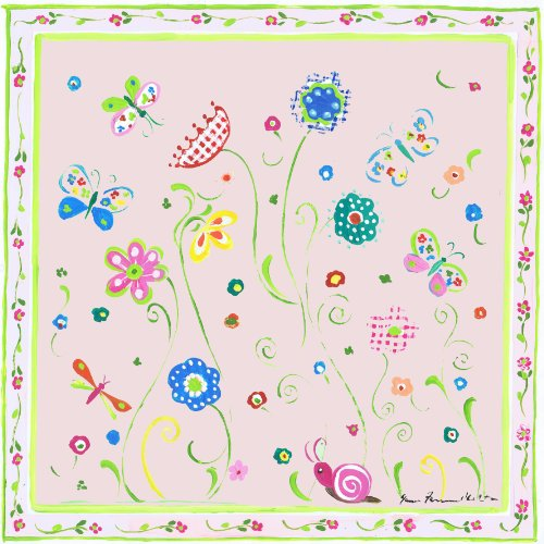 The Kids Room by Stupell Green Floral with Butterflies and Pink Border Square Wall Plaque