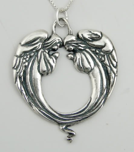 A Pair of Praying Angels Pendant Beautifully Done in Sterling Silver Made in America
