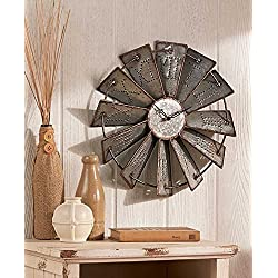 Metal Windmill Wall Clock