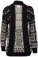 66B New Womens Owl Printed Ladies Long Sleeve Knitted Winter Cardigan