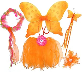 Amazon.com: 5 Pc Girls Pink and Orange Fairy Set with ...