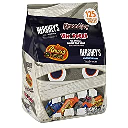 HERSHEY\'S Halloween Snack Size Assortment (51.42-Ounce Bag, 125 Pieces)