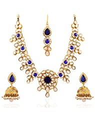 I Jewels Traditional Gold Plated Kundan Jewellery Set With Maang Tikka And Jhumka Earrings For Women IJ251Bl (...