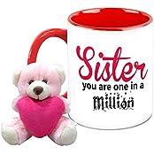 Mug For Sister - HomeSoGood One In A Million Sister White Ceramic Coffee Mug With Teddy - 325 Ml
