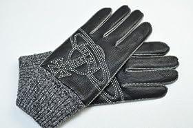(ヴィヴィアン・ウエストウッド マン)Vivienne Westwood Man レザー オーヴステッチ 手袋 黒 系 革 メンズ