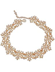 Silver Shoppee Bedazzled 18K Yellow Gold Plated Cubic Zirconia Studded Alloy Necklaces