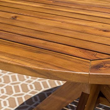 Stanford | Outdoor Acacia Wood Dining Table | Round | with Teak Finish