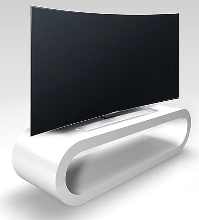 Stile Retrò Cerchio Grande Bianco Lucido Porta Tv / Armadietto Larghezza 110 cm