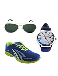 Elligator Stylish RoyalBlue & Green Sport Shoes & Watch With Elligator Sunglass For Men's
