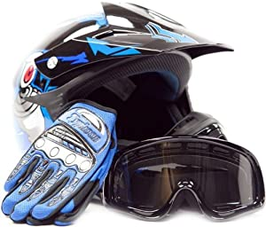 Youth Offroad Gear Combo Helmet Gloves Goggles DOT Motocross ATV Dirt Bike Blue Black Crazy Eye, Large by Typhoon Helmets