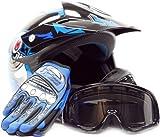 Youth Offroad Gear Combo Helmet Gloves Goggles DOT Motocross ATV Dirt Bike Blue Black Crazy Eye, Small