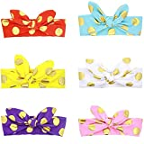 Jastore® 6Pcs Baby Girls Dot Rabbit Ear Turban Hairband Wrap Knotted Headband