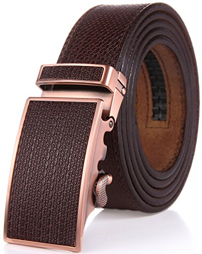 Marino Men's One Piece Leather Ratchet Dress Belt with Automatic Leather Fashion Buckle - Smoky Brown Leather Buckle with Smoky Brown Leather - Custom: Up to 44