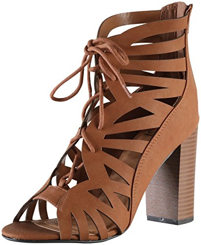 Delicious by Soda Women's Detour Cut Out Caged Peep Toe Chunky Stacked Heel Sandal (7 B(M) US, Tan) (Sandals By Soda compare prices)