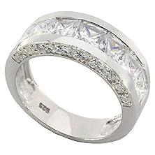 buy 2.1Ct Channel Set Princess Cut Cz Sterling Silver 925 Men Wedding Band Ring Size 8
