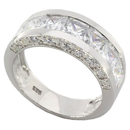 4.8Ct Channel Set Cz Sterling Silver 925 Men Wedding Band Ring Size 12