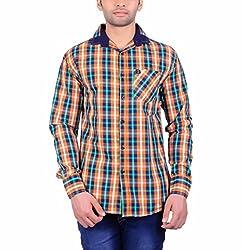 Cotblend Men's Casual Shirt (COTBLEBD12-M, Multi-Coloured, M)