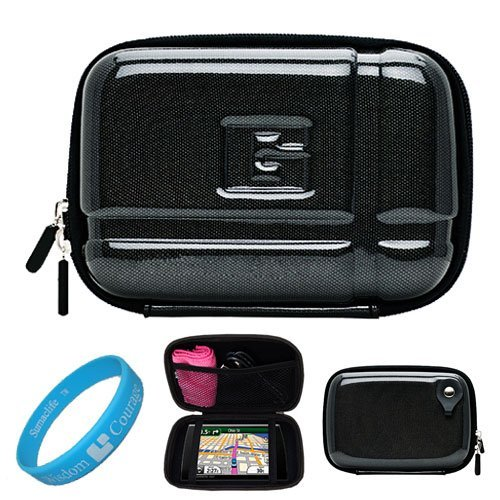 Candy Black Durable 5.2-inch Protective GPS Carrying Case with Removable Carbineer for Garmin dezl 560LMT / 2450LM /2555LMT 560LT /1695 5 inch Portable GPS Navigation System + SumacLife TM Wisdom Courage Wristband