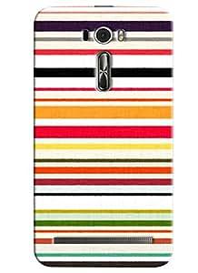 Blue Throat Horizontal Stripes Printed Designer Back Cover/Case For Asus Zenfone 2 (ZE601KL)