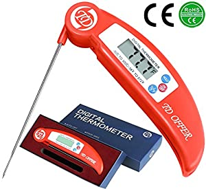 TD OFFER Instant Read Thermometer Best Digital Meat Thermometer with Probe for Kitchen BBQ Oven Grilling Coffee Candy Liquid and Food
